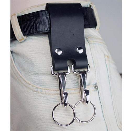 Double Black Leather Belt Strap Key Holder Super Duty with chrome hardware - Riveted on belt