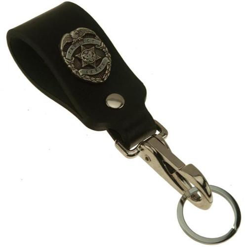 Police Badge Wide Leather Belt Strap Key Holder