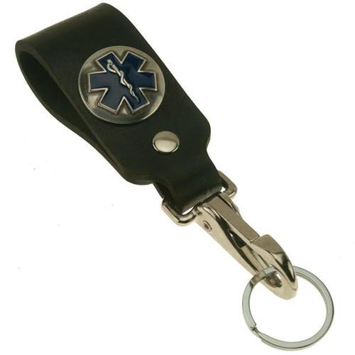 EMT Star of Life Wide Black Leather Belt Strap with chrome hardware Key Holder