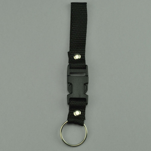 Black Nylon Belt Strap with Removable Key Holder. Picture of front lying flat