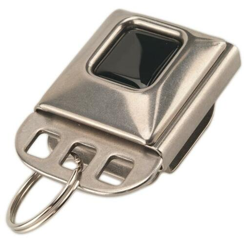 "Seat Belt Buckle Key Holder with Keychain. Made in the U.S.A. Clip-on Stainless-Steel design. Three holes on insert to hold multiple split key rings. Fits a belts up to 1-1/2"" wide.  Same design as the original sidecar. Clip on your belt or pants. Front view"
