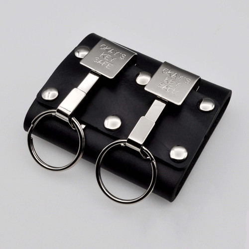 """Okays Ultimate Key Keyper Nickel Plated Dual Key Safe Belt Key Holder. Fits belts up to 2-1/4"""" Wide. Belt is required to use. Made in the USA. Heavy duty black leather holder with two nickel plated Okays key safes. Popular with police, security guards and janitors."""