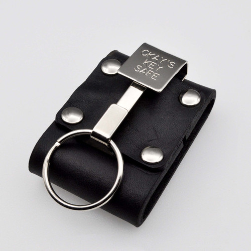 """Okays Ultimate Key Keyper Nickel Plated Single Key Safe Belt Key Holder. Fits belts up to 2-1/4"""" wide.  Belt is needed to use. Top grain dyed heavy duty leather holder. Made in the USA. Popular with police, security guards, correctional officers and janitors."""