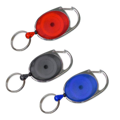 Oval Retractor with Clip and nickel platted hardware. Picture of 3 colors blue black and red
