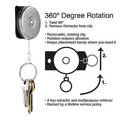 """Key-Bak Key Retractor 24"""" Chain with Spinner and keys on chain. Instructions"""
