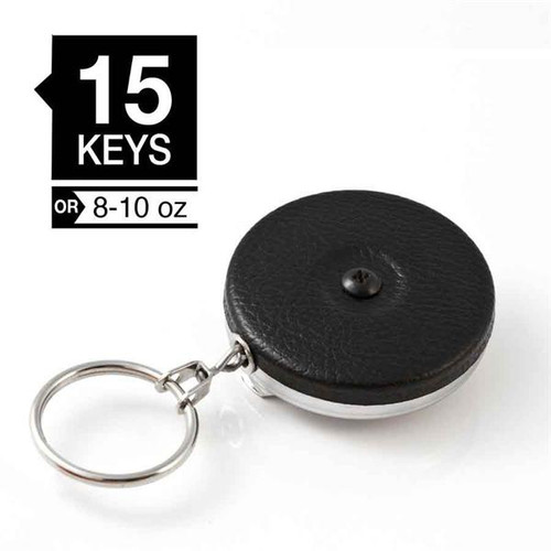 "Key-Bak Model #5B Key Retractor Clip On 24"" Chain BLACK front cover"