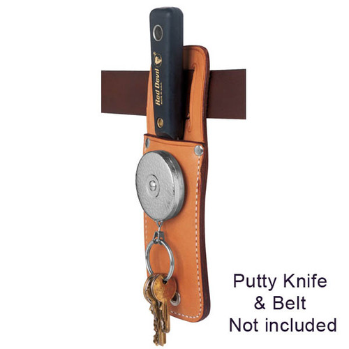 "Key-Bak Model #489HDK - 48"" Kevlar Cord Retractor with Leather Tool Pouch"