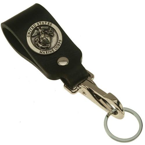 Marines Logo Wide Leather Belt Strap Key Holder