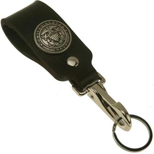 Navy Emblem Wide Leather Belt Strap Key Holder