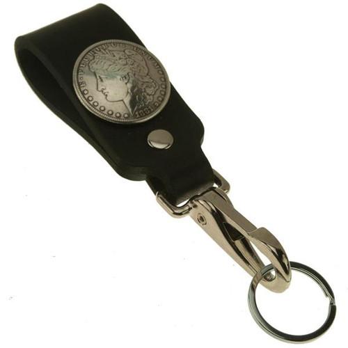 Silver Dollar Wide Leather Belt Strap Key Holder