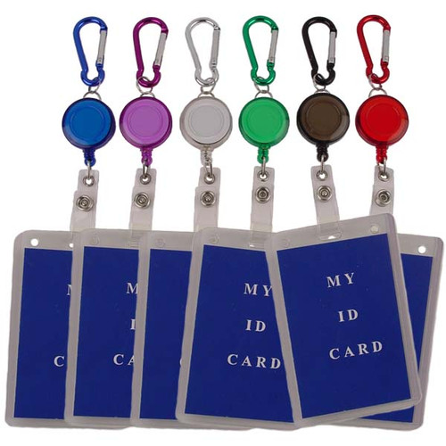 Carabiner Clip with Retractable Badge Holder All Colors