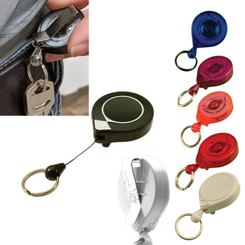 Mini Key-Bak Key Retractor Clip On with split key ring. All colors with a view of back and on a belt