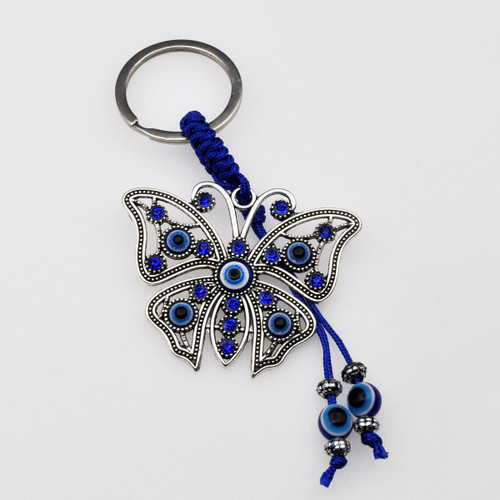 Blue Evil Eye Butterfly Keychain with Blue Jewels