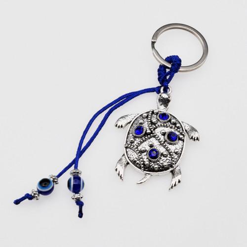 Blue Evil Eye Turtle Keychain with Blue Jewels