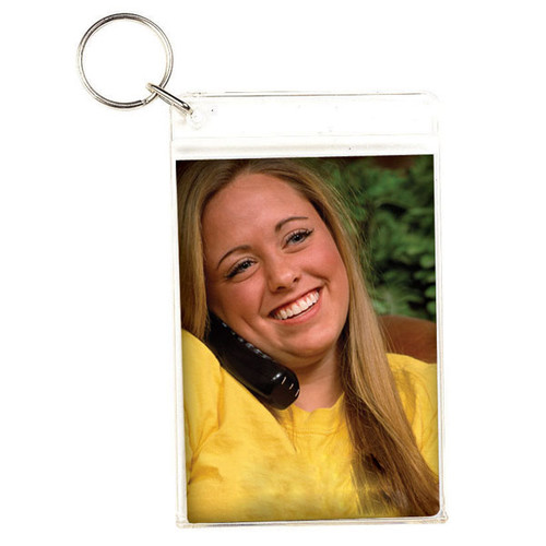 "Large Slip-in Photo Holder Key Chain 2.5"" x 3.5"" Insert"