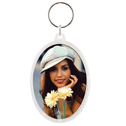 "Oval Snap-Together Photo Holder Key Chain 2"" x 2-7/8"" Insert"
