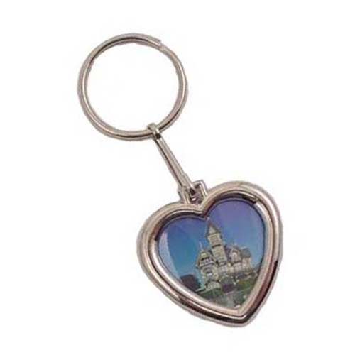 Photo Holder Keychain - Nickel-Plated Heart Shape