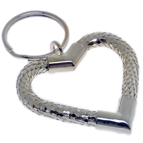 Elegant Mesh Heart Keychain - Silver Color