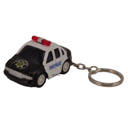 Police Car Keychain - Mini Black and White