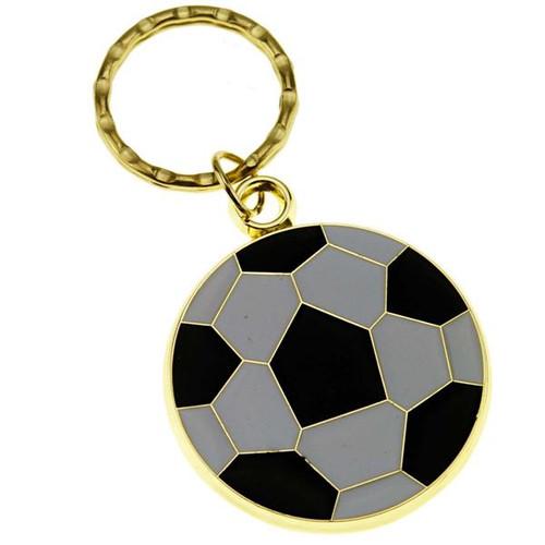 Soccer Ball - Brass with Enameled Insert Keyring