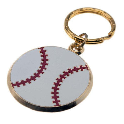 Baseball - Brass with Enameled Insert Keyring