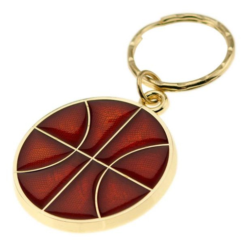Basketball - Brass with Enameled Insert Keyring