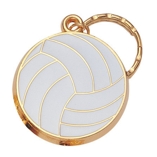 Volleyball - Brass with Enameled Insert Keyring