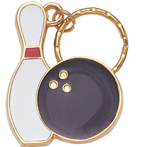 Bowling Pin and Ball - Brass with Enameled Insert Keyring