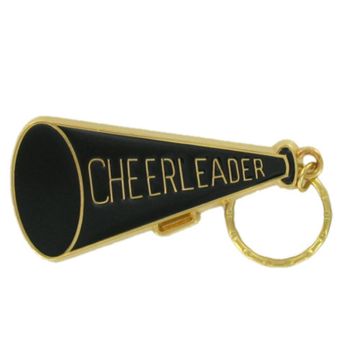 Cheer Leader Megaphone - Brass with Enameled Insert Keyring