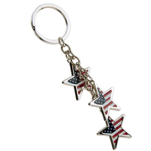 Patriotic USA Dangle Stars Metal Keychain