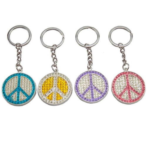 3D Bling Peace Sign with Rhinestones Key Chain