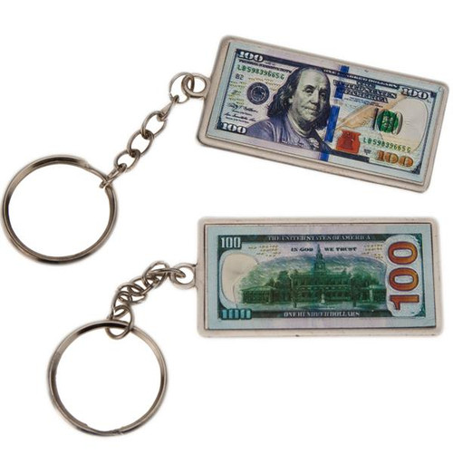 Metal Fob $100 Bill Key Chain
