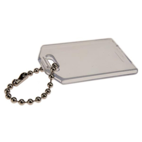 Clear Plastic Slip In Tag with Bead Chain 2-1/4 Inch x 1-9/16 Inch