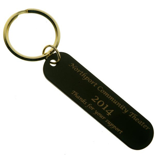 Black Brass Long Rectangle Key Tag CUSTOM ENGRAVED