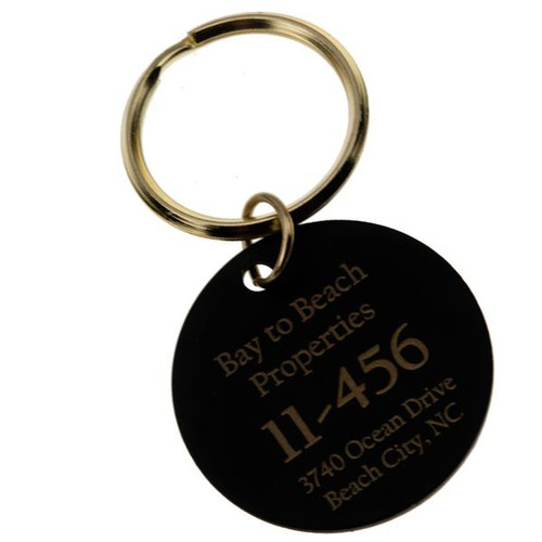 Black Brass Circle Key Tag CUSTOM ENGRAVED