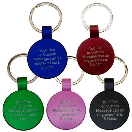 Powder Coated Circle Key Fob with Tab CUSTOM ENGRAVED