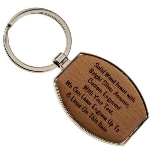 Chrome Key Fob with Wood Insert Wide Oval - PERSONALIZED
