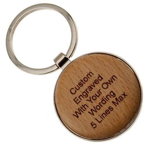 Chrome Key Fob with Wood Insert Round - PERSONALIZED