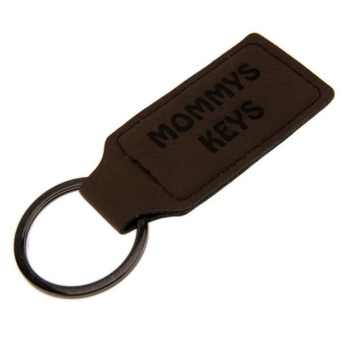 Rectangle Leatherette Key Fob Dark Brown - PERSONALIZED
