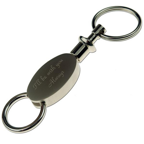 Brushed Silver Oval Two Part Key Chain - PERSONALIZED