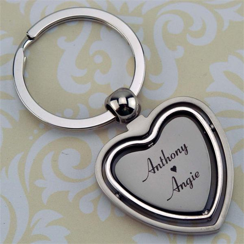 Spinning Gyro Heart Key Chain Silver - Custom Engraved