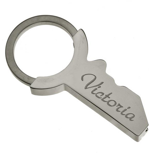 Deluxe Silver Key Shape Keychain - PERSONALIZED
