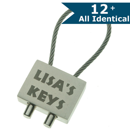Deluxe Silver Flex Cable Keyring - ENGRAVED - ALL IDENTICAL
