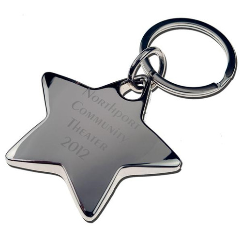 Silver Deluxe Star Keychain - ENGRAVED