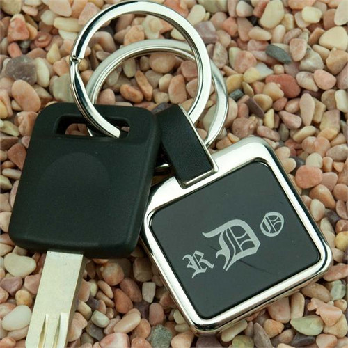 Nickel Plated Square Key Fob with Black Insert - Custom Engraved