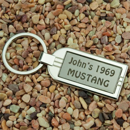 Streamliner Nickel Plated Key Fob with Gunmetal Insert - Custom Engraved