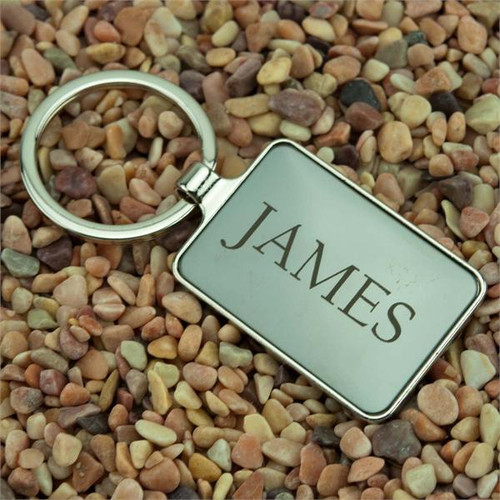 Rectangle Metal Key Fob with Gunmetal Insert - Custom Engraved