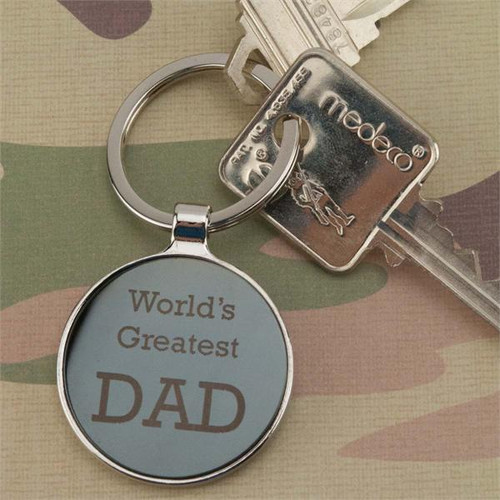 Round Metal Key Fob with Gunmetal Insert - Custom Engraved