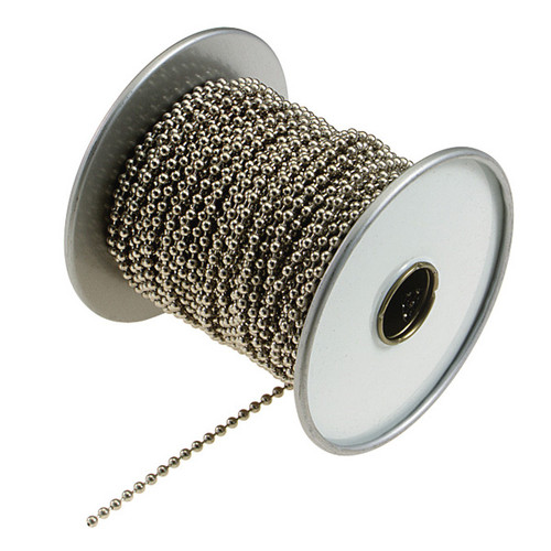 Number 6 Nickel Plated Steel Ball Chain 100 Foot Spool
