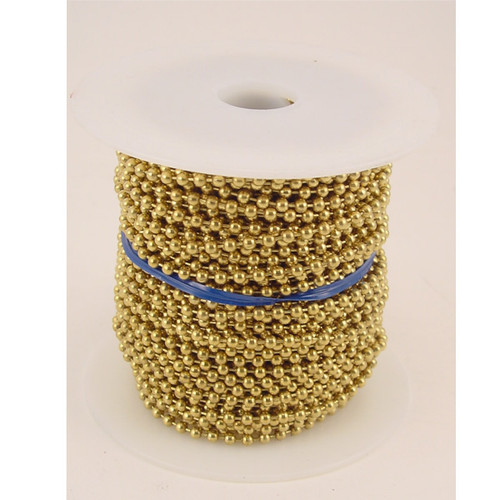 Number 6 Brass Plated Ball Chain 100 Foot Spool
